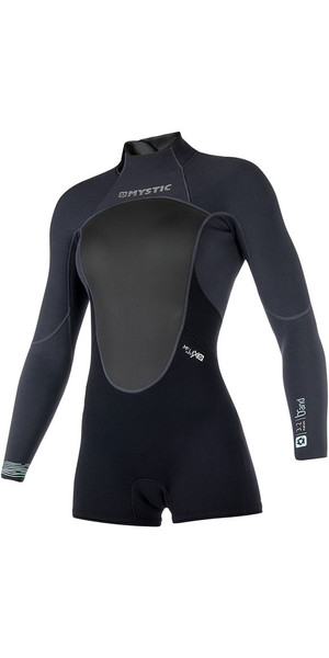 2019 Mystic Womens Brand 3/2mm Back Zip Long Arm Shorty Wetsuit Black 180070