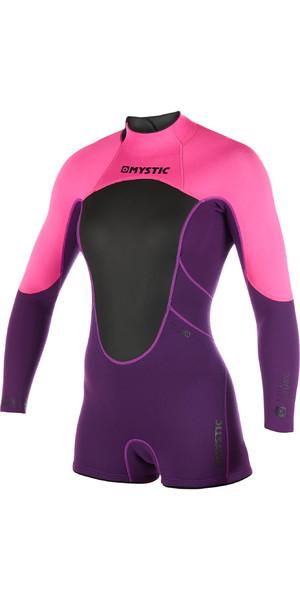 2019 Mystic Womens Brand 3/2mm Long Arm Shorty Wetsuit Purple 180070