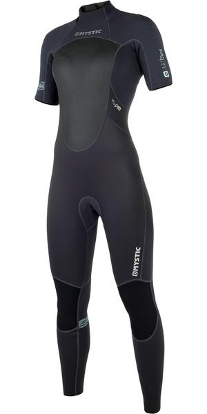2019 Mystic Womens Brand 3/2mm Short Arm Back Zip Wetsuit Black 180069