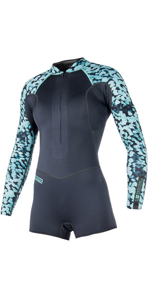 2018 Mystic Womens Diva 3/2mm Front Zip Long Arm Shorty Wetsuit Grey 180063