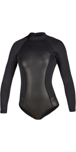 2020 Mystic Womens Diva Black Series Long Sleeve 2mm Back Zip Super Shorty Wetsuit 200078 - Black