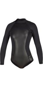 2020 Mystic Womens Diva Black Series Long Sleeve 2mm Back Zip Super Shorty Wetsuit 200078 - Black