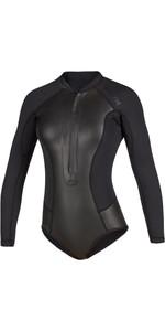 2020 Mystic Womens Diva Black Series Long Sleeve 2mm Front Zip Super Shorty Wetsuit 200077 - Black