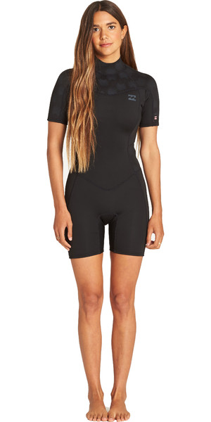 2019 Billabong Womens Furnace Synergy 2mm Shorty Wetsuit Black Palms N42G04