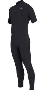 2019 Billabong Mens 2mm Pro Series Short Sleeve Chest Zip Wetsuit Black N42M02