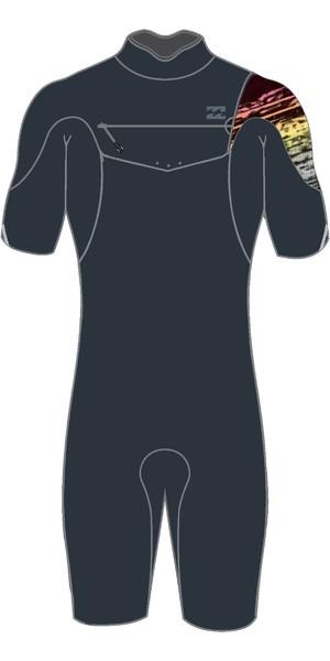 2019 Billabong Mens 2mm Pro Series Chest Zip Shorty Wetsuit Black / Fade N42M03