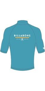 2019 Billabong Mens Unity Short Sleeve Rash Vest Aqua Blue N4MY01