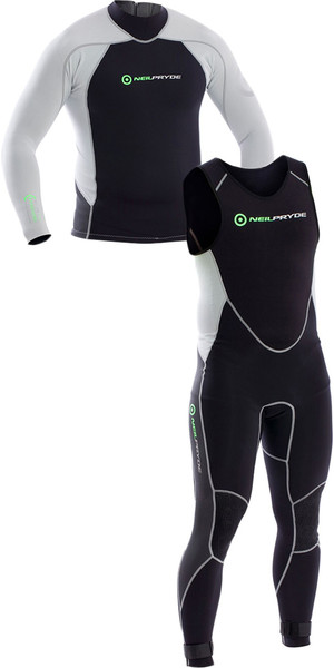 2018 Neil Pryde Elite Firewire 1mm Long Sleeve Top & Long John Wetsuit Combi Black / Silver