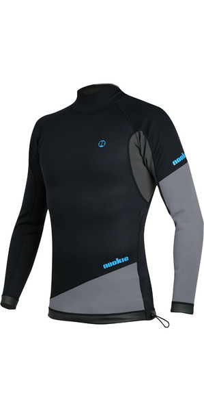 2019 Nookie Ti 1mm Neoprene Long Sleeve Vest Top Black / Grey / Cyan NE10