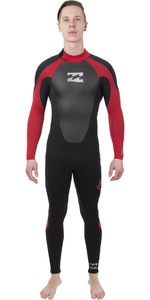 2019 Billabong Mens Intruder 3/2mm GBS Back Zip Wetsuit Black / Red L43M51