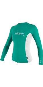 2021 O'Neill Girls Premium Skins Long Sleeve Rash Vest 4176 - Baltic Green / White