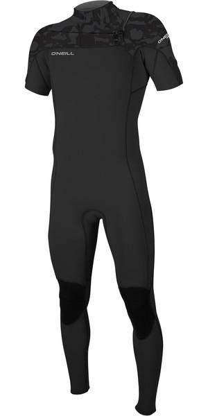 2019 O'Neill Mens Hammer 2mm Chest Zip Short Sleeve Wetsuit Black Jet Camo 5056