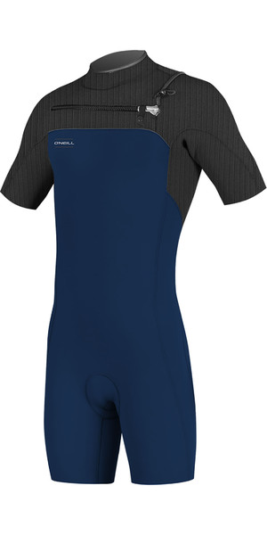 2019 O'Neill Mens Hyperfreak 2mm Chest Zip GBS Shorty Wetsuit Abyss / Graphite 5036