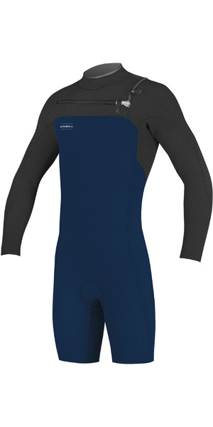 2019 O'Neill Mens Hyperfreak 2mm LS Chest Zip GBS Shorty Wetsuit Abyss / Graphite 5004