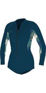 2020 O'Neill Womens Bahia 2/1mm Front Zip Long Sleeve Shorty Wetsuit 5363 - French Navy / Bridget