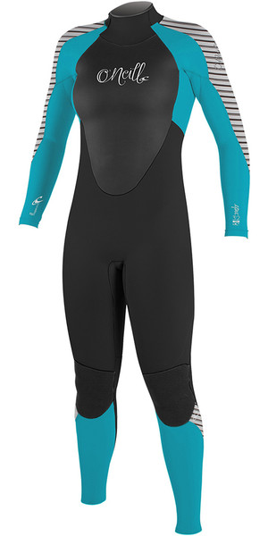 2018 O'Neill Womens Epic 5/4mm Back Zip GBS Wetsuit BLACK / Blue / STRIPE 4218