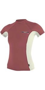 O'Neill Womens Premium Skins Short Sleeve Turtleneck Rash Vest 4171B - Red