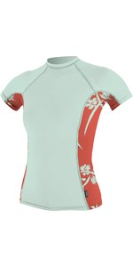 O'Neill Womens Side Print Short Sleeve Rash Vest 5309S - Mint
