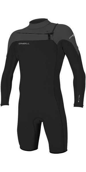 2018 O'Neill Hammer 2mm Chest Zip Long Sleeve Shorty Wetsuit BLACK / GRAPHITE 4928