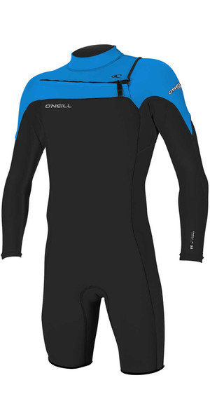 2018 O'Neill Hammer 2mm Chest Zip Long Sleeve Shorty BLACK / OCEAN 4928