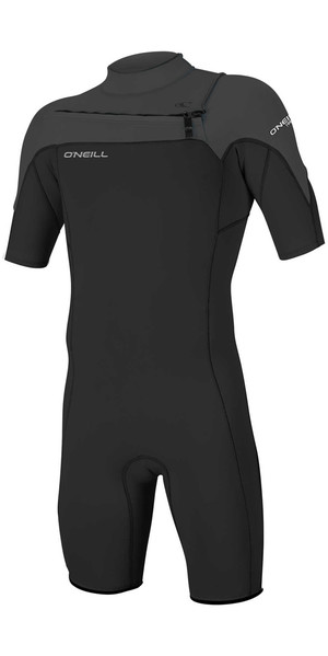 2018 O'Neill Hammer 2mm Chest Zip Spring Shorty Wetsuit BLACK / GRAPHITE 4927