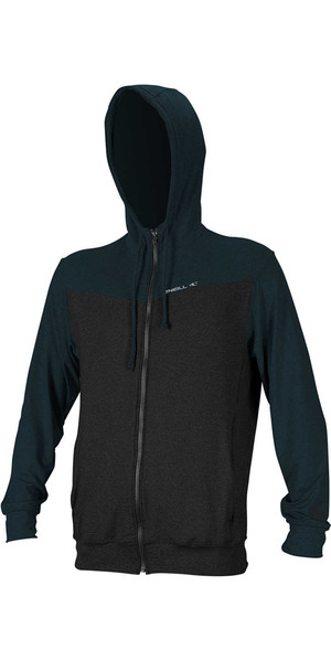 2018 O'Neill Hybrid Rash Guard Zip Hoody BLACK / SLATE 4883