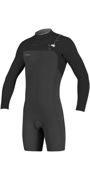 2018 O'Neill Hyperfreak 2mm Chest Zip GBS Long Sleeve Shorty Wetsuit BLACK 5004