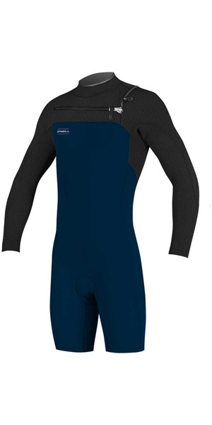 2018 O'Neill Hyperfreak 2mm Chest Zip GBS Long Sleeve Shorty Wetsuit SLATE / BLACK 5004