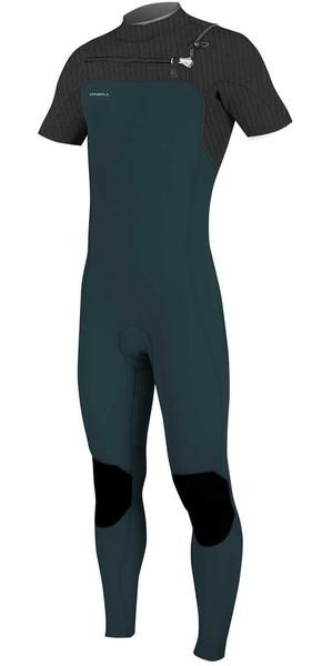 2018 O'Neill Hyperfreak 2mm Chest Zip GBS Short Sleeve Wetsuit SLATE / BLACK 5066
