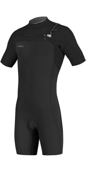2019 O'Neill Hyperfreak 2mm Chest Zip GBS Shorty Wetsuit BLACK 5036
