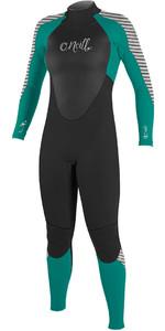 O'Neill Womens Epic 3/2mm GBS Back Zip Wetsuit BLACK / GREEN / STRIPE 4213