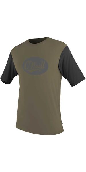 2018 O'Neill Premium Skins Graphic Short Sleeve Rash Tee KHAKI /  BLACK 5077SB