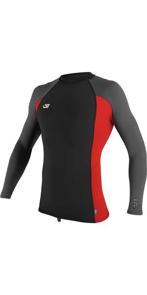 2018 O'Neill Premium Skins Long Sleeve Rash Vest BLACK / RED / GRAPHITE 4170B