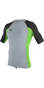 O'Neill Premium Skins Short Sleeve Rash Vest COOL GREY / DAY GLOW 4169B