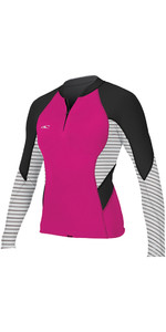 O'Neill Womens Bahia 1mm Front Zip Long Sleeve Neoprene Jacket PUNK PINK 4934