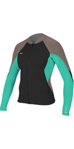 O'Neill Womens Bahia 1mm Full Zip Long Sleeve Neoprene Jacket BLACK / CAPRI BREEZE 4933
