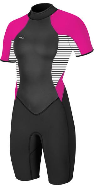 2018 O'Neill Womens Bahia 2/1mm Back Zip Shorty Wetsuit BLACK /  STRIPE / PUNK PINK 4858