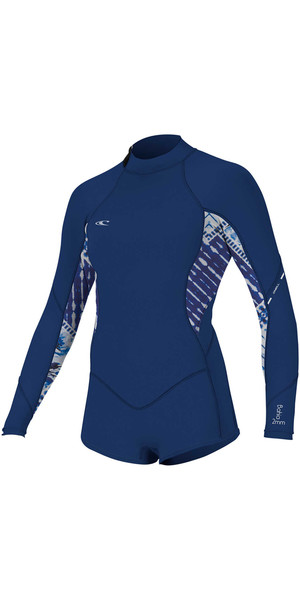 2018 O'Neill Womens Bahia 2/1mm Long Sleeve Back Zip Shorty Wetsuit NAVY 4859