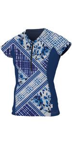 O'Neill Womens Front Zip Cap Sleeve Rash Tee INDIGO PATCH / NAVY 5057S
