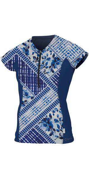2018 O'Neill Womens Front Zip Cap Sleeve Rash Tee INDIGO PATCH / NAVY 5057S
