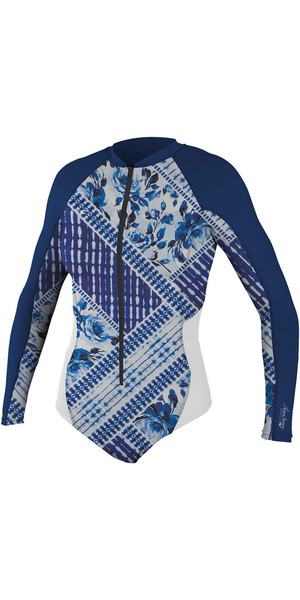 2018 O'Neill Womens Front Zip Long Sleeve Rash Surf Suit INDIGO PATCH / NAVY 5061S
