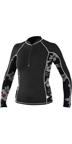 2018 O'Neill Womens Front Zip Long Sleeve Rash Vest BLACK / FLOWER / CHAMPAGNE 5059S