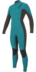 O'Neill Womens Hyperfreak 3/2mm Chest Zip GBS Wetsuit GREEN / BLACK 5074