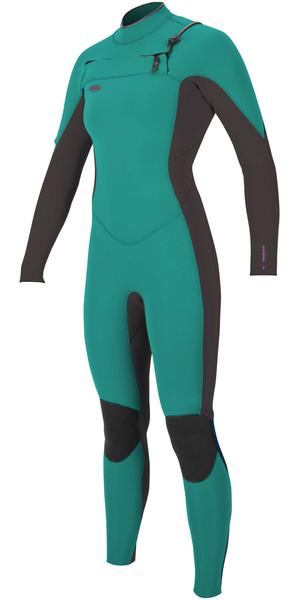 2018 O'Neill Womens Hyperfreak 5/4mm Chest Zip GBS Wetsuit GREEN / BLACK 5076