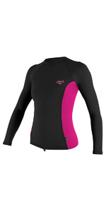 O'Neill Womens Premium Skins Long Sleeve Turtleneck Rash Vest BLACK / BERRY 4172B