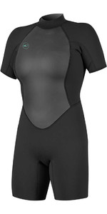 2020 O'Neill Womens Reactor II 2mm Back Zip Shorty Wetsuit BLACK 5043