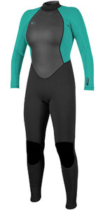 O'Neill Womens Reactor II 3/2mm Back Zip Wetsuit BLACK / AQUA 5042
