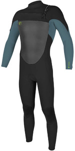 O'Neill Youth O'Riginal 5/4mm Chest Zip Wetsuit BLACK / DUSTY BLUE / DAYGLO 4999
