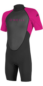 O'Neill Youth Reactor II 2mm Back Zip Shorty Wetsuit BLACK / BERRY 5045