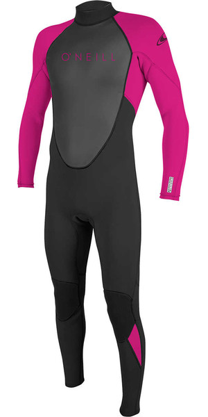2018 O'Neill Youth Reactor II 3/2mm Back Zip Wetsuit BLACK / BERRY 5044